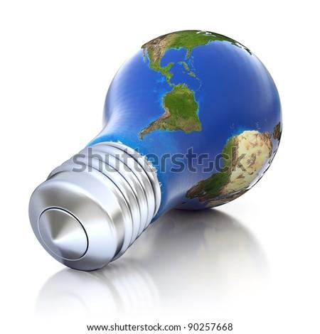 3d light bulb planet - stock photo