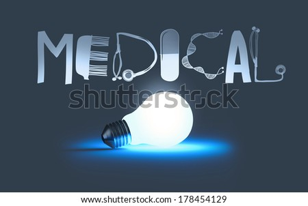 3d light bulb symbol and text design MEDICAL as concept - stock photo