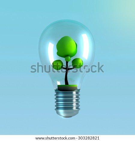 3D light bulb with tree inside.