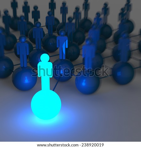 3d light growing human social network and leadership as concept - stock photo