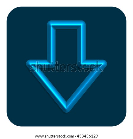 3d Line Neon Web Icon, Blue Color - stock photo