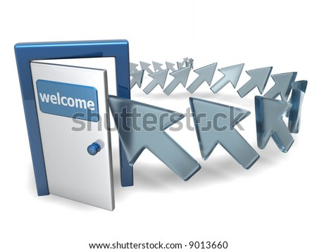3d line to login door with cursors on white background, isolated - stock photo