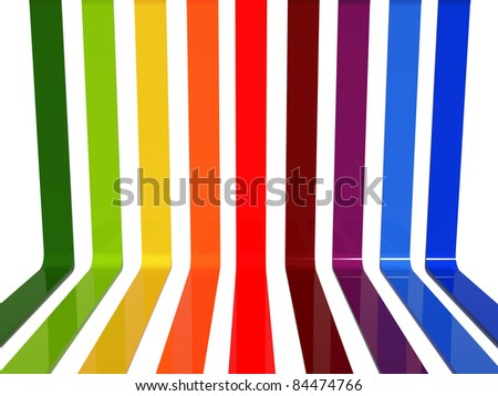 3d lines with graduating colors over white - stock photo