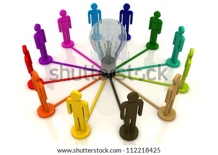 3D Link Human group and Light Bulb - stock photo