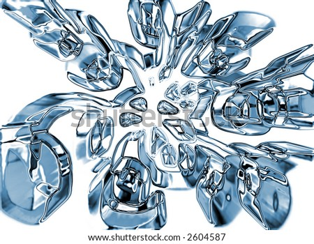 3d liquid metal abstract on white isolate background