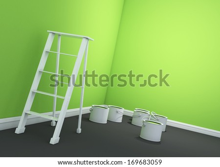 3d lite green wall painting, ladder, paint cans  - stock photo