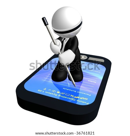 3d little businessman icon with personal data assistant organizer - stock photo