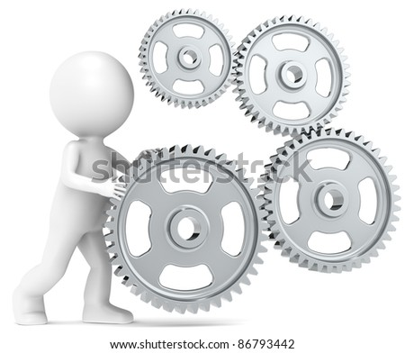 3D little human character and Gears. Metal - stock photo