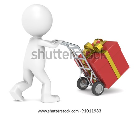 3D little human character delivering a Christmas Present. People series. - stock photo