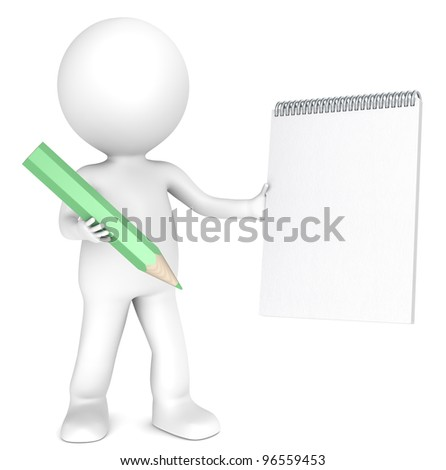 3D little human character holding a Blank notepad and a Green Pencil. Textured Paper. Copy Space. People series. - stock photo
