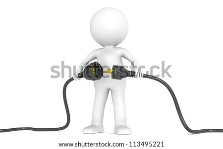 3D little human character holding Black Power Cable. Male and Female plug . People series. - stock photo