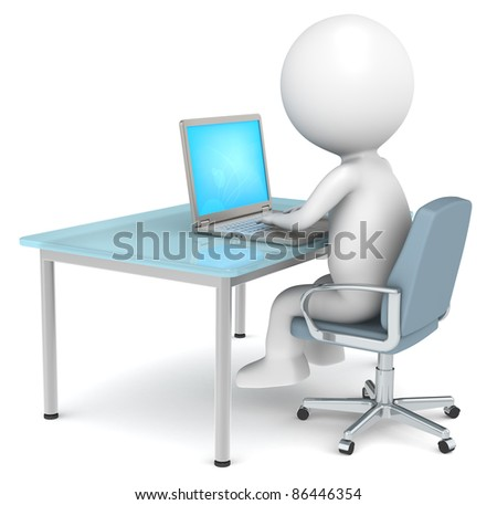 3D little human character in the office working.  Business People series.