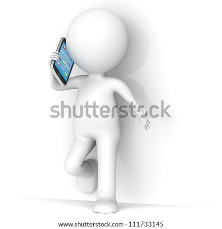 3D little human character leaning against a wall, talking on a Smartphone. People series. - stock photo