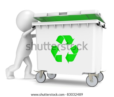 3D little human character pushing a Recycling Bin. Green Illumination - stock photo
