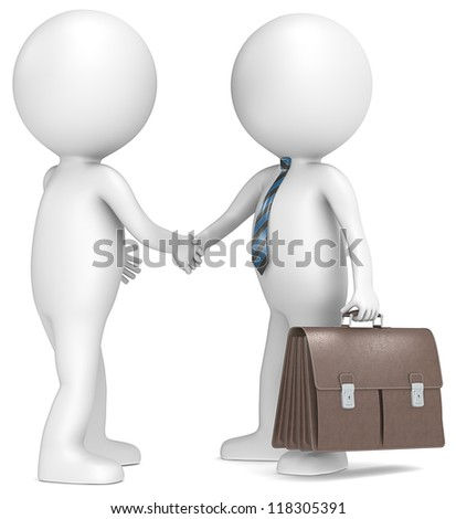 3D little human character shaking hand with Businessman. Brown leather Briefcase. Blue striped tie.People series. - stock photo