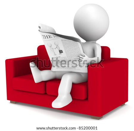 3D little human character sitting in the sofa reading the news. People series. - stock photo