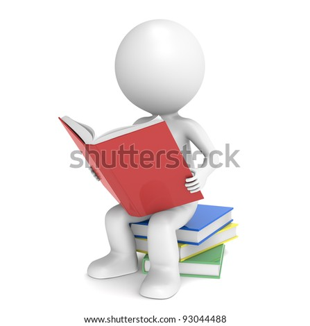 3D little human character sitting on a pile of Books, reading. People Series. - stock photo