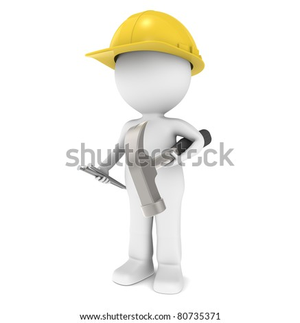 3D Little Human Character The Builder. Character ready for Construction. Holding a hammer and nails. - stock photo