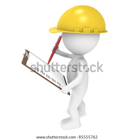 3D little human character The Builder holding a Clip Board and a Pen. People series. - stock photo