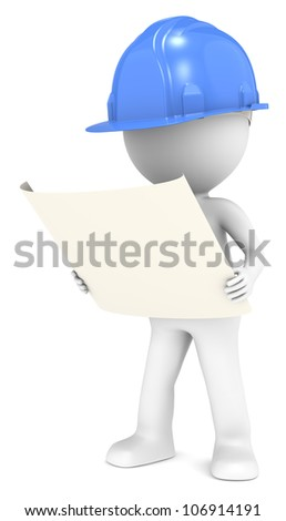 3D little human character The Builder looking at a blueprint. Front view. Blue. People series. - stock photo