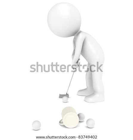 3D little human character The Golfer at the Office. People series. - stock photo