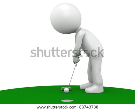 3D little human character The Golfer making a putt on Green. People series. - stock photo