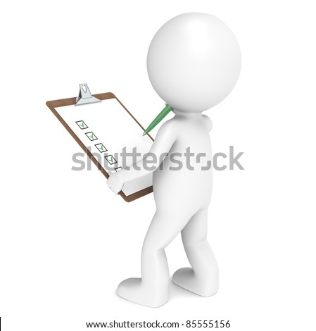 3D little human character The Inspector holding a Clip Board and a Pen. People series. - stock photo