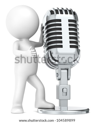 3D little human character The Star, with a Retro Microphone. Metal. People series. - stock photo