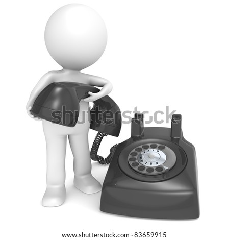 3D little human character with a Black Telephone. People series. - stock photo