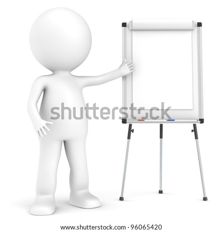 3D little human character with a blank Flip Chart and whiteboard.