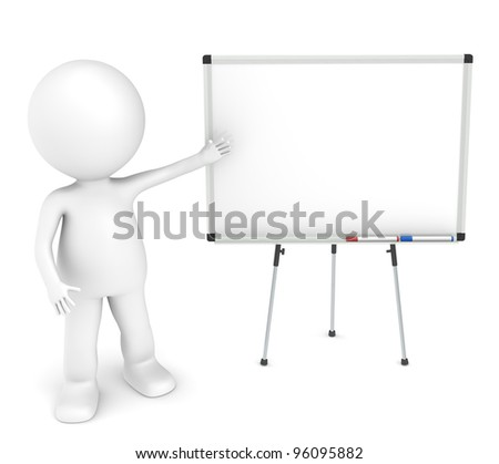 3D little human character with a blank whiteboard and 2 pens.