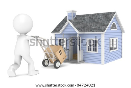 3D little human character with a Hand Truck amd a Box. People Series. - stock photo