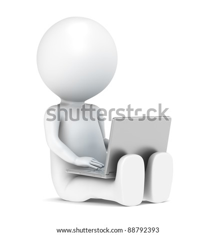 3D little human character with a Laptop. Front view. People series. - stock photo
