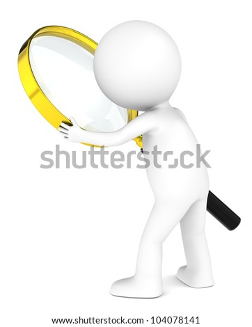 3D little human character with a Magnifying Glass. Brass. People series. - stock photo