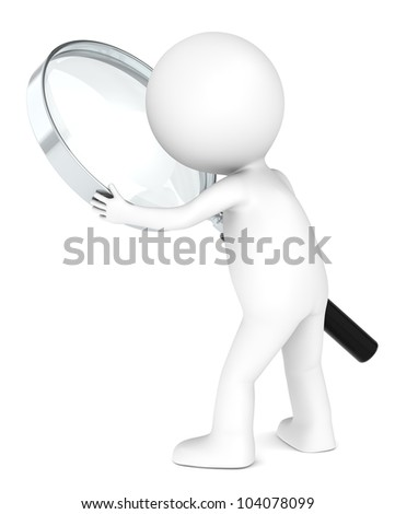 3D little human character with a Magnifying Glass. Metal. People series. - stock photo