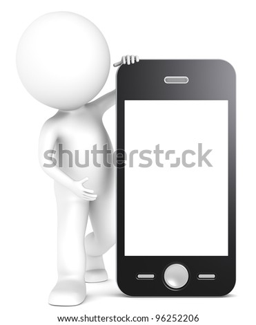 3D little human character with a Smart Phone. Blank Screen for copy space. People series. - stock photo