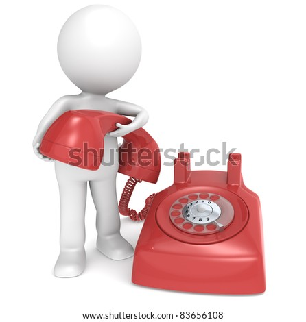 3D little human character with a Telephone. People series. - stock photo