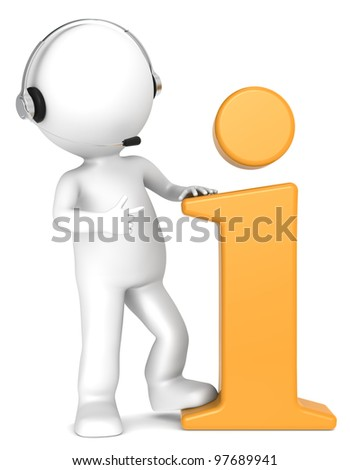 3D little human character with an Orange Info Symbol and a Headset. Orange. People series. - stock photo