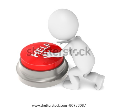 3D Little Human Character with Help Button. Character about to push a Help Botton. - stock photo