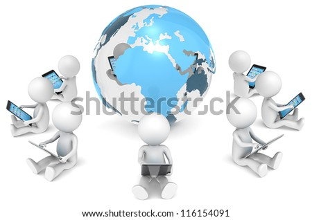 3D little human character X9 sitting, with tablet computers, in a circle around the Globe. Transparent Core. People series. - stock photo