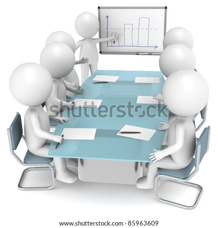 3D little human characters X7 during a Presentation. Business People series. - stock photo