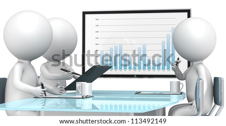 3D little human characters X3 during business review. Big screen. Business People series. - stock photo