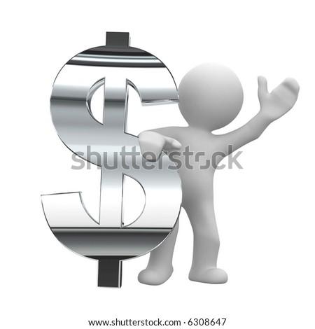 3d little human keep a chrom dollar symbol - stock photo