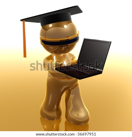 3d little icon graduated from distance learning - stock photo