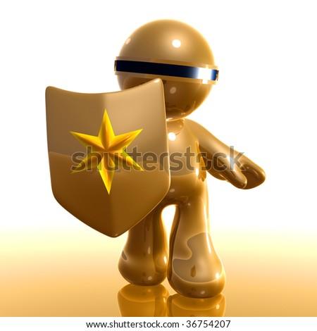 3d little icon holding virus shield - stock photo