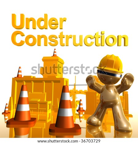 3d little icon on under construction site - stock photo
