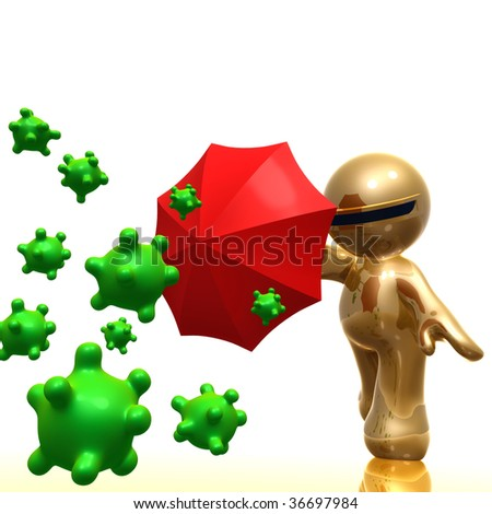 3d little icon using umbrella as virus protection - stock photo