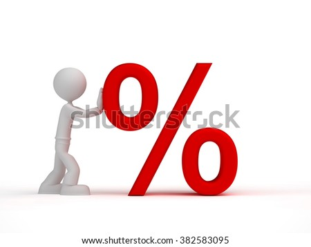 3d little man push red percent sign - stock photo