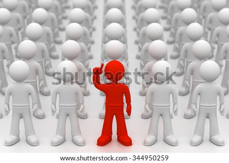 3d little man with arm up - stock photo