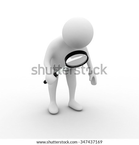 3d Little man with magnifier - stock photo